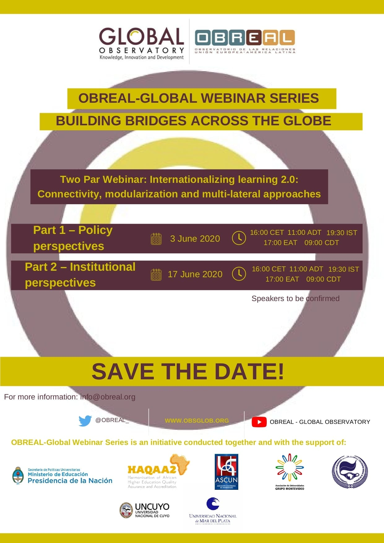 OBREAL GLOBAL Webinar Series: Next sessions